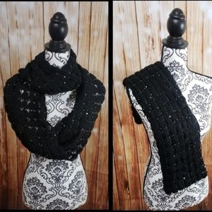 Knitted Sequin Specked Infinity Scarf